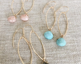 ZOYA hoops- pink moonstone (top Pic)
