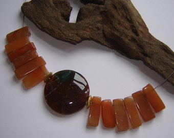 Edelsteine-one-offs necklace agate + carnelian