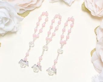 24 Pink Mini Angel Rosary Baptism Favors - Mini Rosary Favors Baptism Favors for Girls - Mini Rosaries Baptism Gift Bautizo Rosario Recuerdo