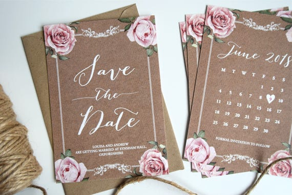 Vintage Kraft Wedding Save The Date Card SAMPLE ONLY