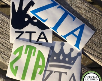 SUMMER SALE | Zeta Tau Alpha Decals | Sorority Stickers | Sorority Decals | Official Licensed Product