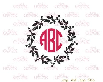 Wreath Monogram Frame SVG cut files, Wreath svg cut files for use with Silhouette, Cricut and other Vinyl Cutters, digital cut file