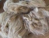 Alpaca Fleece (50 gm), raw, caramel or pale beige color, for spinning or felting, weaving, knitting, fiber art, fibre, natural, unprocessed