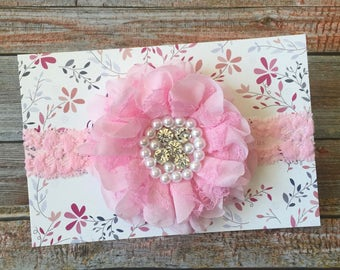 Pink Baby Headband / Baby Headband / Newborn Headband / Easter Headband / Spring Headband / Light Pink Headband / Toddler Headband / Infant