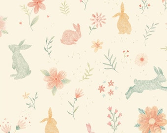 """End of Bolt, Cream Bunnies from the Bunny Tales Collection by Lucie Crovatto for Studio E Fabrics 22""""x44"""""""