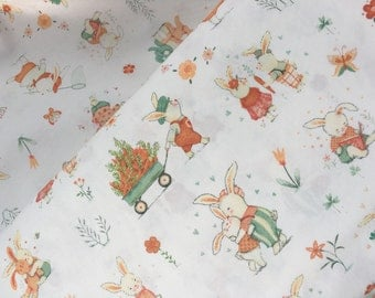 """End of Bolt,White Bunny Scene from the Bunny Tales Collection by Lucie Crovatto for Studio E Fabrics 9""""x44"""""""