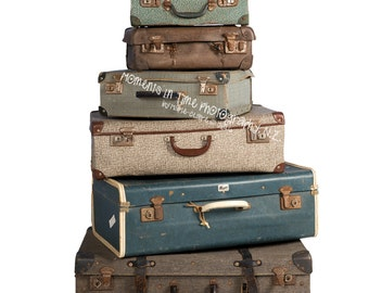 Moments In Time Vintage Suitcases Digital Overlay