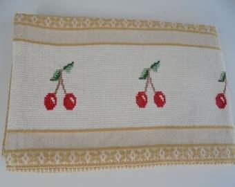 Kitchen Cloth,cross-stitch,Handmade,embroidered dishcloth,Cherry cross stitch,embroidered towel,dish towel,Kitchen Accessories,cleaning item