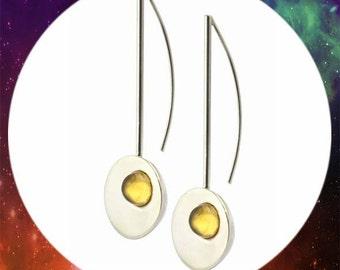 Silver earrings. Citrine earrings. Long earrings. Gemstone earrings. Minimalist earrings. Modern earrings. Cabochon earrings. Party earrings