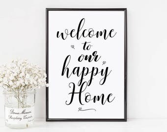 Welcome to our happy home, happy home prints, welcome sign, living room decor, living room prints, wall art, living space, welcome sign