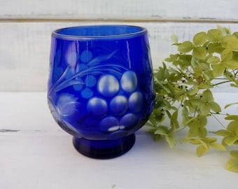 Kitchen décor Vintage Blue Crystal Glass Gift Mothers day Water Glass vine Housewarming gift Garden kitchen Dining Tableware Retro Barware
