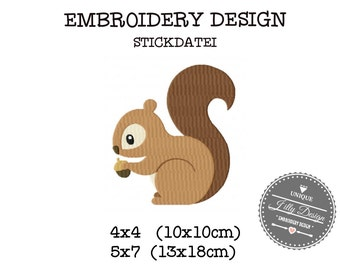 Embroidery Design  File Squirrel  Forrest 4x4 5x7