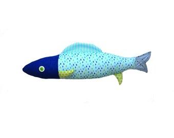 Fish. Sardine. Sardine design cushion. Accessories for furniture. Made in Quebec. 54 cm.