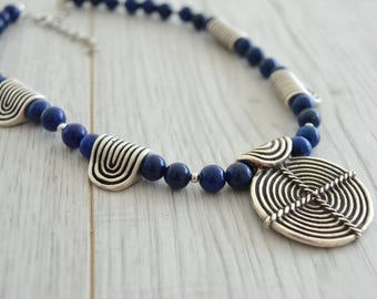 Ancient Greek Meander Symbol & Lapis Lazuli Beaded Necklace, Greek Jewelry, Tribal Ethnic Gemstone Jewelry Necklace, Handmade Jewelry