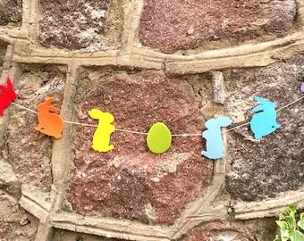 Easter garland, Easter banner, Bunny garland, Spring garland,Rabbit garland, Rainbow banner, Easter garland, Modern decor, Easter bunny deco