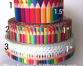 color pencils grosgrain ribbon/back to school