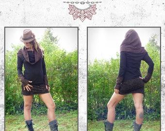 Top cotton sleeves and crochet sleeves long collar/hood trance ethnic Bohemian Amazon tribal roots