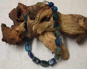 Dark Blue Banded Agate Chuncky Beaded Necklace