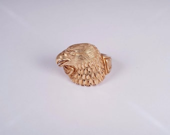 14K Yellow Gold Mens Eagle Ring , Size 9.25