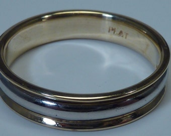 Platinum and 18K Yellow Gold wedding Band, size 11.75