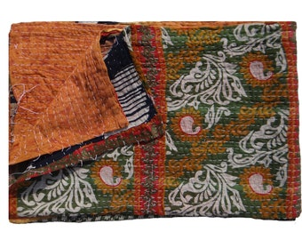Twin Size Kantha Quilt, Indian Bed Spread,Reversible Vintage Kantha Quilt, Baby Blanket ,Tapestry #108