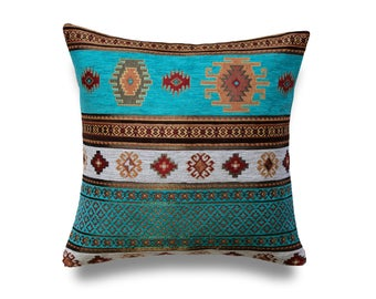KILIM PILLOW Cover - Tribal Pillow -Ethnic Pillow - Geometric Pattern - Turkish Pillow -Chenille Pillow - Turquoise Pillows