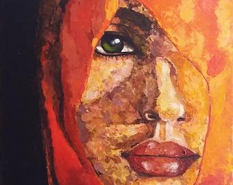 Woman Portrait with Veil Original Acrylics Impasto