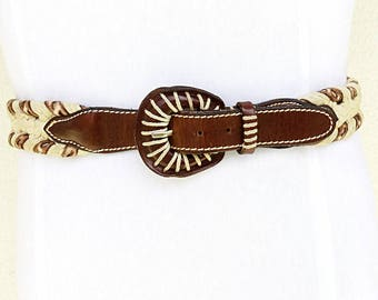 Womens cord belt woven brown leather belt womens canvas belt brown leather braided belt for womens vintage