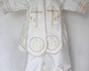 Boy Baptism Gown, Baptism Gown for boy, Boy Baptism suit, Boy Baptism Ropon, Ropon for Boy, Ropon in beige, Ropon in Ivory