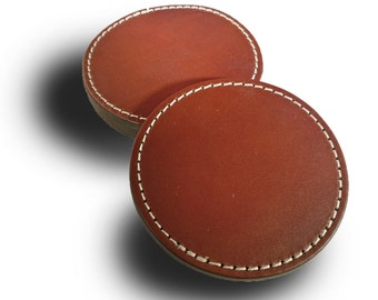 Stitched Chestnut Leather Coaster Set of 4 (Engraving Available)