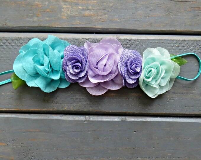 Mint and Lavender Floral Headband, Baby Headband, Girls' Hair Accessories, Mermaid Birthday, Unicorn Birthday, Birthday Headband