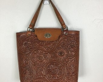 Incredible vtg 70s brown leather tooled handbag bag purse southwestern
