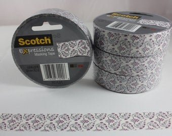 Masking Tape 3437-JA-ELIZ White Purple Floral Scotch Expressions 3M Decorative Paper Tape Craft Tape Removable Tape  New Color