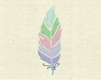 Machine embroidery design colorful feather