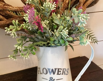 Watering can arrangement, spring flowers, summer flowers, farmhouse arrangement, rustic arrangement, french country decor, table decor, gift