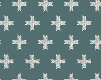 Teal Crosses Fabric, Unn Cross Pine, Heartland Collection,  Woodland Fabric, Art Gallery Fabrics, Pat Bravo, Teal and Grey Fabric, HRT-85304