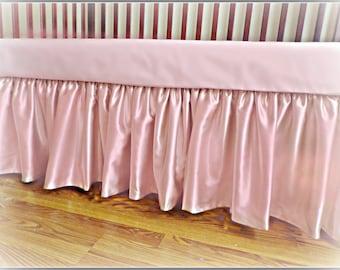 Mauve Satin Crib Skirt!!  Luxurious  Crib Skirt!