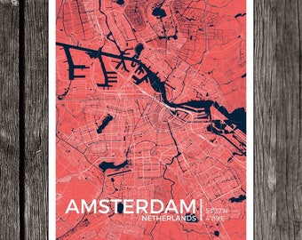 "Amsterdam City Map Print - Frame-able Art Decor (13"" x 19"" and 8"" x 10"" available)"