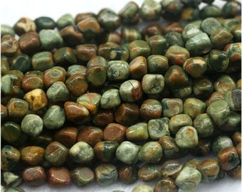 """Wholesale Natural Green Yellow Rhyolite Jasper Nugget Loose Beads Free Form Beads Fit Jewelry 15"""" 03974"""