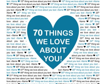 """11x17"""" Template in Microsoft Word for """"70 Things We Love About You"""" Editable and Printable Artwork"""