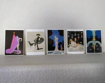 5/10/15 Dollar Sale: Vintage Postcards, Art Deco Images by Erte, Set of 5, Black, Blue, Purple, White, Fashion, Art Project, Framing, 1984