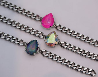 Swarovski Bracelet / Pear Shape Crystal / Stainless Steel / Curb Chain / Stackable / Teardrop Crystal