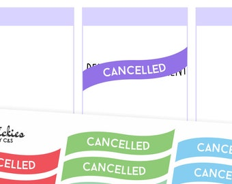 Cancelled Stickers / Planner Stickers / Rainbow Stickers, Cancelled Plans, Not today, Change of Plans | D5