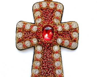 Cross Pendant handmade Fashion Jewelry Cross Embroidered