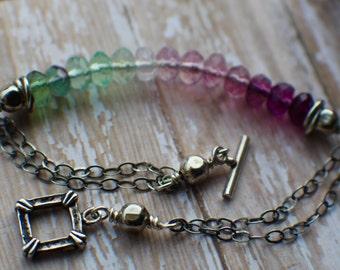 Fluorite Ombre Bracelet, Fluorite Gemstone Bracelet, Sterling Silver Bracelet, Natural Fluorite Gemstones, Rainbow Fluorite Bracelet