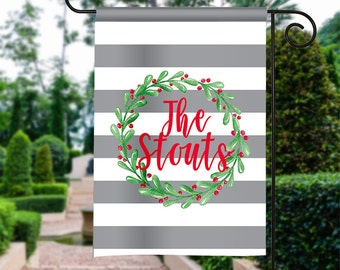 Personalized Garden Flag - Christmas Wreath - Holiday Winter Flag Monogrammed 12 by 18  Yard Flag Best Selling Gifts For Her Home Decor