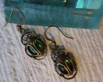 Scarab Earrings/Egyptian Earrings/Beetle Earrings/Green Earrings/Steampunk Earrings/Beetle Earrings/Aretes/Free Shipping