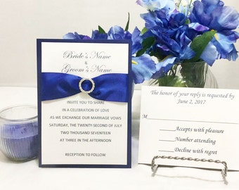 Attractive Royal Blue & White Wedding Invitation Set For Wedding/Birthdays/Holidays - Response Cards and Envelopes Included