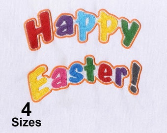 Vibrant and Colorful Happy Easter Embroidery Design