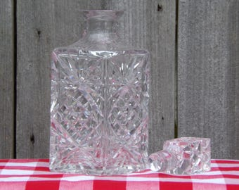 Vintage Crystal Decanter Whiskey Scotch Collectibles Square Decanter Spirit Decanters